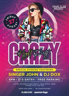 Download the Free Crazy Night Party Flyer Template! - Free Club Flyer, Free Flyer Templates, Free Party Flyer - #FreeClubFlyer, #FreeFlyerTemplates, #FreePartyFlyer - #Club, #DJ, #Electro, #Music, #Night, #Nightclub, #Party