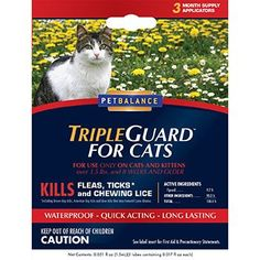 Pet Balance TripleGuard Flea and Tick Drops for Cats, Over 1.5 lbs * Find out more about the great product at the image link.