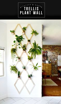 DIY Wood and Leather Trellis Plant Wall - DIY Garden Projects - 101 DIY Ideas to Upgrade Your Garden - DIY & Crafts