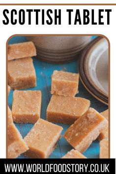 Scottish Tablet or 'Taiblet', in Scots, is a traditional Scottish confection made from sugar, butter and condensed milk. It can also be found under the name of the 'Swiss Milk tablet' since condensed milk is sometimes called Swiss Milk.Usually, it is flavoured with vanilla, and sometimes whiskey and nut pieces. However, whatever that goes into it, the tablet is a sugar bomb.