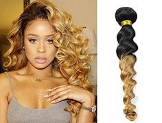 Black to Blonde 2 Tone Ombre Hair Extension Real Human Hair Loose Wave Curly Weave Bundle Grade Brazilian Virgin Hair for Women Inches) Curly Human Hair Extensions, Sew In Hair Extensions, Virgin Hair Extensions, Brazilian Hair Bundles, Brazilian Hair Weave, Blonde Balayage Highlights On Dark Hair, Loose Waves Hair, Beautiful Hair Color, Loose Hairstyles