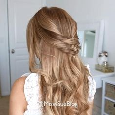 Easy Hairstyles idea by Easy Wedding Guest Hairstyles, Easy Formal Hairstyles, Wedding Hair Half, Bridesmaid Hair Half Up, Straight Hairstyles, Wedding Hair For Guests, Halfway Up Hairstyles, Half Up Half Down Hairstyles, Loose Braid Hairstyles