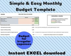 Excited to share this item from my #etsy shop: Monthly Budget Template - EXCEL- Instant digital download - Personal Finance and Easy Household Budgeting - Spending and Saving Calculator