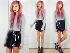 Boohoo Grey Mohair Eyelash Crop Jumper, Boohoo Asymmetric Vinyl Skirt, Boohoo Chunky Black Sandals