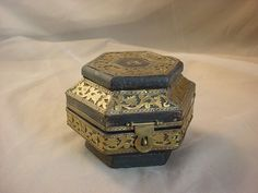 Vtg Trinket Box Ornate Brass Metal Openwork over Black Wood 4 inch 6 sided