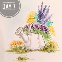 Wonderful Watercolor from Art Impressions. WC EZ Project A (Sku#4271), WC Foliage Set (Sku#4051), WC Flower Set (Sku#4052). wildflower, watering can water color card.