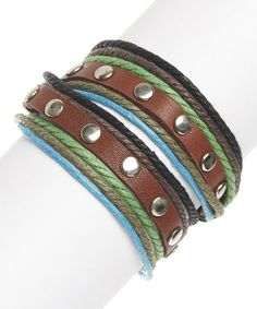 Brown Leather & Green Rope Wrap Bracelet