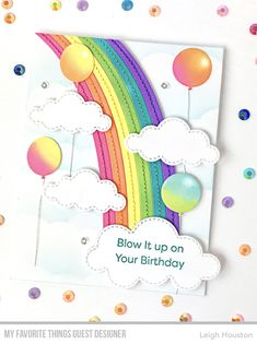 Stamps: Bundle of Balloons Die-namics: End of the Rainbow, Bundle of Balloons, Birthday Boy & Girl, Stitched Clouds Stencil: Clouds Leigh Houston Unicorn Birthday Cards, Unicorn Cards, Cloud Stencil, Rainbow Card, Mft Stamps, Card Making Inspiration, Scrapbook Cards, Scrapbooking, Card Tags