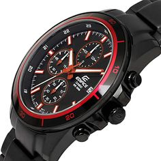 HAPIAN: Casio edifice watches mens CASIO EDIFICE chronograph luminous calendar overseas model discount black red gift gift brand analog watch popular WATCH tokei no udedokei Red Watches, Watches For Men, Red Color Combinations, Casio Edifice, Popular Watches, Global Market, Top Gifts, Fathers Day Gifts, Chronograph