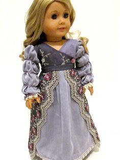 "Regency Gown For American Girl Doll Caroline 18"" Original By Dollhouse Designs"
