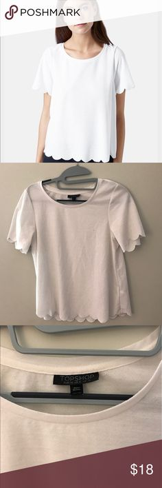 Topshop White Scallop Frill Tee Great condition! Size US 6 and retails for $25! Fun fact: Gina Rodriguez (who has won a golden globe award)!wore the Topshop Scallop Frill Tee in Jane the Virgin! That fact always makes me feel extra special when I wear this top ☺️ Open to any offers! Topshop Tops Tees - Short Sleeve