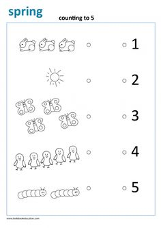 Count and connect worksheet. Find more free spring worksheets, www.lookbookeducation.com Preschool Colors, Numbers Preschool, English Worksheets For Kids, Kids Math Worksheets, Preschool Learning, Preschool Activities, 1st Grade Homework, Spring, Matching Shapes