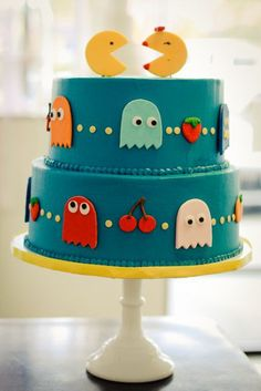 It's a Pac-Man wedding cake, but this would be really cool as a birthday cake, just take Mr. Pac Man off. Pretty Cakes, Cute Cakes, Beautiful Cakes, Amazing Cakes, Bolo Pac Man, Pac Man Cake, Gateaux Cake, Cakes For Men, Cake Gallery