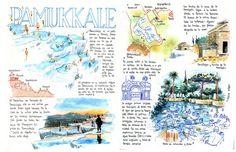 By Joaquin Gonzalez Dorao Smash Book Inspiration, Sketchbook Inspiration, Watercolor Journal, Watercolor Sketch, Travel Sketchbook, Art Sketchbook, Pamukkale, Sketch Journal, Scrapbook Journal