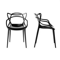 Masters - Philippe Starck and Eugeni Quitlet, for Kartell. Starck pays homage to three contemporary design icons, the 7 Series by Arne Jacobsen, the Tulip Armchair by Eero Saarinen and the Eiffel Chair by Charles Eames. Philippe Starck, Charles Eames, Arne Jacobsen, Modern Dining Chairs, Dining Arm Chair, Dining Room, Chaise Masters, Eiffel Chair, By Lassen