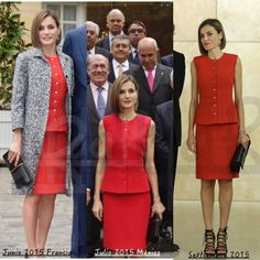 Doña Letizia has worn several times the Nina Ricci red separates sleeveless top and pencil skirt. After debuting the set in France on 3 June 2015, she wore for another State Visit,   Mexico on 30 June 2015, and in Burgos, Spain on 23 September 2015.