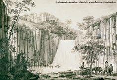 Las corbetas del Rey Entre los lugares visitados por Antonio Pineda durante su estancia en territorio mexicano, se cuenta la cascada de Querétaro. La lámina muestra el discurrir del agua entre los basaltos y una frondosa vegetación. A la derecha, contemplando el paisaje, el grupo de naturalistas junto a sus cabalgaduras.
