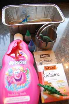 Making soap with toys inside. Not sure I'd use a dark coloring but a pale pink or blue would be good. - Kiddos at Home Projects For Kids, Diy For Kids, Crafts For Kids, Dinosaur Party, Dinosaur Birthday, 7th Birthday, Kiwi Crate, Dinosaurs Preschool, Craft Activities