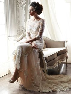 30 Long Sleeve Wedding Dresses For Fall/Winter Bride maggie sottero bateau sheath gown in lace! Bridal Veils / www. Long Sleeve Wedding, Wedding Dress Sleeves, Elegant Wedding Dress, Dress Wedding, Wedding Ceremony, Elegant Bride, 2nd Marriage Wedding Dress, Elegant Lady, Modest Wedding