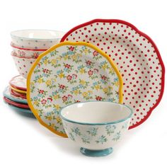 12 PC Dinnerware Set The Pioneer Woman Timeless Floral and Retro Dot Mix #THEPIONEERWOMAN