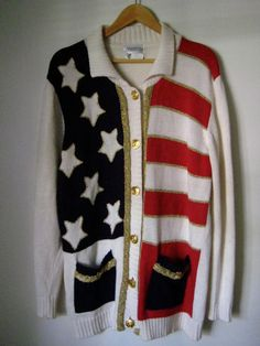 vintage oversized american flag nautical cardigan by stylebook, $40.00
