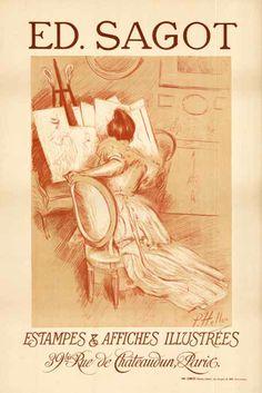 1900s Ed. Sagot self promoting advert vintage poster