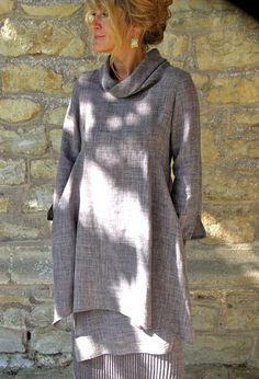 Roll Collar Tunic, over Asymetrical Skirt.