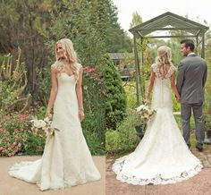 Wholesale Brazil Party Dresses - Buy Lace Mermaid Garden Beach Wedding Dresses 2014 Sweetheart Neckline with Modest Cap Sleeves Vintage Covered Button Affordable Bridal Gowns, $178.3 | DHgate