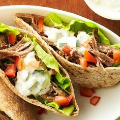 Lemony Lamb Pitas Reminiscent of gyros, but much simpler, these lamb sandwiches are a welcome change of pace. Serve them with wedges of fresh melon. Diabetic Slow Cooker Recipes, Low Carb Recipes, Crockpot Recipes, Cooking Recipes, Healthy Recipes, Diabetic Meals, Slow Cooking, Crockpot Lamb, Pre Diabetic
