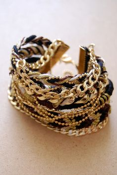 DIY Multi Chain and Braid Bracelet #Tutorial with GIF