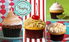 S'more, Pineapple Upside Down, Margarita and Vanilla Vanilla Cupcakes! Trophy is a Yummy Bakery! #PartyPerfectCupcakes #ThePartyStartsHere #TrophyCupcakes