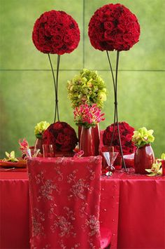 Red Chair Covers & Centerpiece www.tablescapesbydesign.com https://www.facebook.com/pages/Tablescapes-By-Design/129811416695