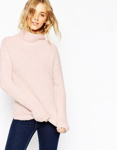Image 1 of ASOS Chunky Jumper With High Neck In Boucle