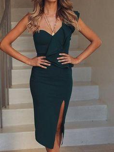 99c6aebda48 Dark Green Cotton One Shoulder Ruffle Trim Chic Women Bodycon Dress
