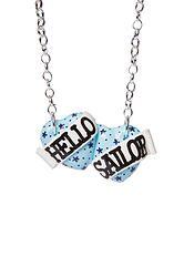 Hello Sailor small double heart necklace