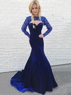 Shop Trumpet/Mermaid High Neck Velvet Sweep Train Beading Prom Dresses at FansFavs. Discover more Prom Dresses online to fit your fashionable needs. Country Bridesmaid Dresses, Unique Prom Dresses, Lace Evening Dresses, Prom Dresses Online, Gowns Online, Mermaid Prom Dresses, Prom Gowns, Blue Dresses, Dress For You