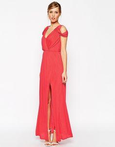 ASOS Cold Shoulder Wrap Maxi Dress