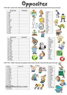 OPPOSITES worksheet - Free ESL printable worksheets made by teachers English Adjectives, English Grammar Worksheets, English Resources, English Activities, Grammar Lessons, English Lessons, Kids English, English Words, Learn English