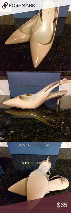 """Ann Taylor Slingback Heels Never worn; all of the original """"shoe stuffing"""" (paper, etc.) and box. They are more taupe than in the pictures--I tried to adjust the color as close as possible. It's not too off, just a little darker than the pictures. Very cute! The original price is printed on the box. Ann Taylor Shoes Heels"""