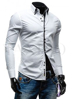 Pánská stylová košile - Leon, bílá Shirt Dress, Mens Tops, Shirts, Dresses, Fashion, Moda, Shirtdress, Vestidos, Fashion Styles