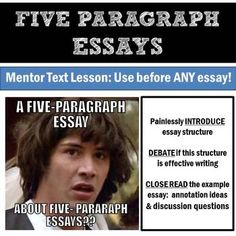 Introduce five paragraph essay structure and debate if it's a good thing by reading an example essay... about five paragraph essays! Use this lesson as a springboard before your next essay assignment.