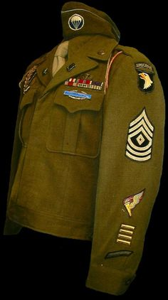 Ike jacket that belonged to an F Co. 506th Paratrooper. It also has pathfinder insignia on it.
