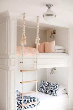 So pretty for a shared big girls bedroom! Love the bunk beds, styled minimally.