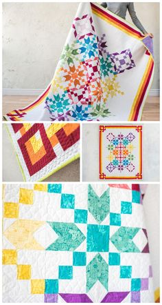 Carnivale White Quilt Kit by Craftsy. |Two traditional blocks make up this project, and the fabric placement helps to create a masterpiece. Modern solids quilt pattern. Star quilt pattern. Rainbow quilt. #modernquilt #rainbowquilt This is an affiliate link.