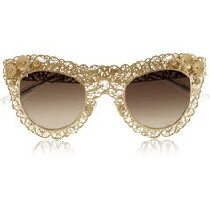 Cat eye filigree gold-tone sunglasses by: Dolce Gabbana Clear Sunglasses, Ray Ban Sunglasses Outlet, Sports Sunglasses, Mirrored Sunglasses, Dolce And Gabbana Eyewear, Cat Eye Glasses, Ideias Fashion, Fashion Accessories, Handbags