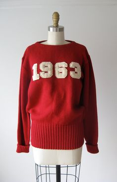 vintage letterman sweater / collegiate sweater by Dronning on Etsy