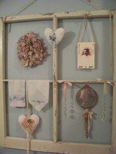 Antique window frame display in Courtney's bathroom...   by sashagirl