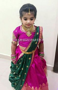 Photo by Suma Makeup Artist in Shubham convention center with and Image may contain: 1 person Girls Frock Design, Kids Frocks Design, Baby Frocks Designs, Baby Dress Design, Baby Girl Party Dresses, Dresses Kids Girl, Kids Outfits, Kids Saree, Kids Lehenga