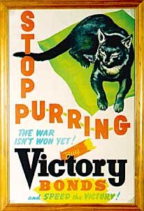 Australian poster, 1942: Stop P-U-R-R-I-N-G, The War Isn't Won Yet! Buy Victory Bonds and Speed the Victory!
