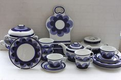 """Arabia of Finland """"Paju"""" in blue Shades Of Purple, Scandinavian Design, Finland, Tea Time, Dinnerware, Retro Vintage, Porcelain, Blue And White, Pottery"""